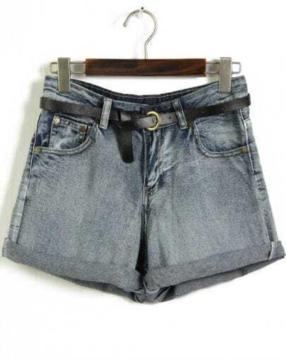 Blue Pockets Flange High Waist Denim Shorts