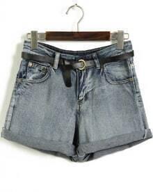 Blue Pockets Flange High Waist Denim Shorts