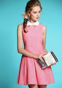 Pink Sleeveless Lapel Jacquard Dress