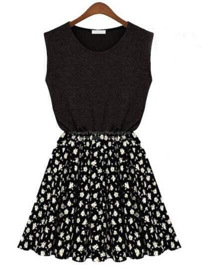 Black Sleeveless Contrast Black Chiffon Floal Pattern Dress