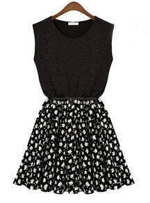 Black Sleeveless Contrast Black Chiffon Floal Pattern Dress