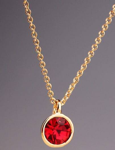 Red Gemstone Gold Round Chain Necklace