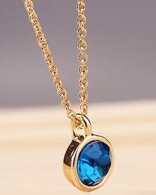 Blue Gemstone Gold Round Chain Necklace