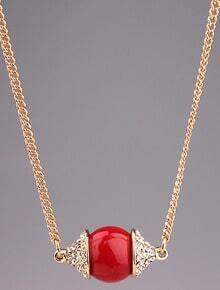 Red Lucky Gemstone Gold Diamond Necklace