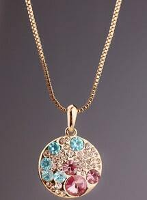 Multicolor Gemstone Gold Round Chain Necklace
