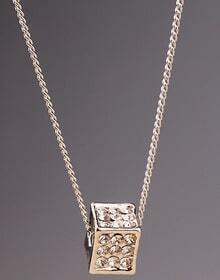 Silver Diamond Box Chain Necklace