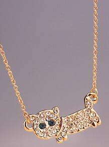 Gold Diamond Cat Fishbone Chain Necklace