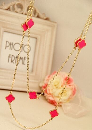 Rose Red Glaze Flower Gold Chain Long Necklace