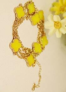 Yellow Glaze Flower Gold Chain Long Necklace