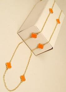 Orange Glaze Flower Gold Chain Long Necklace