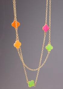 Multicolor Glaze Flower Gold Chain Long Necklace