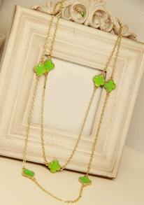 Green Glaze Flower Gold Chain Long Necklace