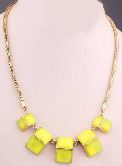 Yellow Gemstone Gold Geometric Necklace