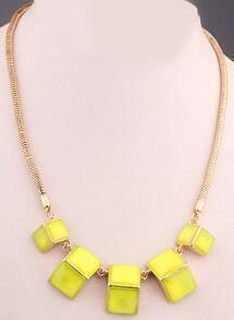 Yellow Gemstone Gold Geometric Necklace