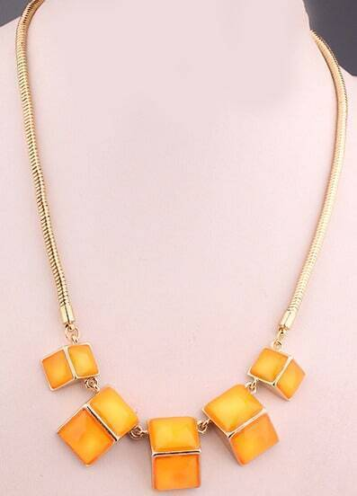 Orange Gemstone Gold Geometric Necklace