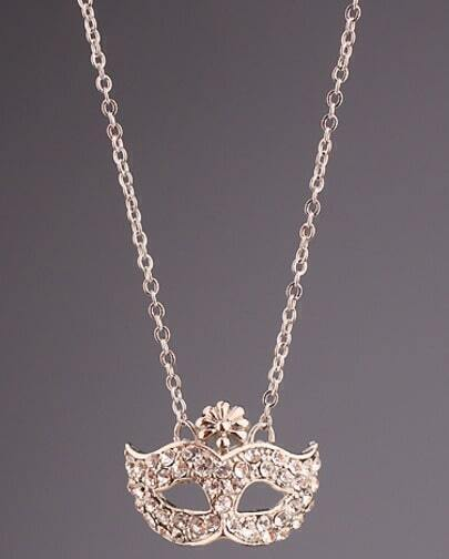 Silver Diamond Mask Chain Necklace