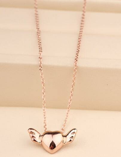 Gold Heart Wing Chain Necklace