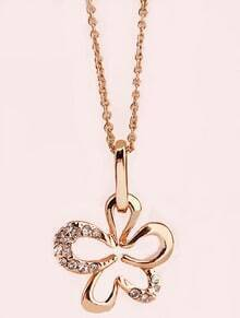 Gold Diamond Hollow Flower Necklace