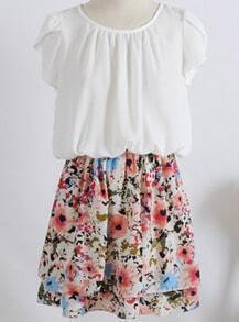White Short Sleeve Contrast Floral Pleated Dress