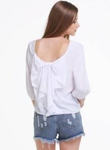 White Long Sleeve Bowknot Backless Blouse