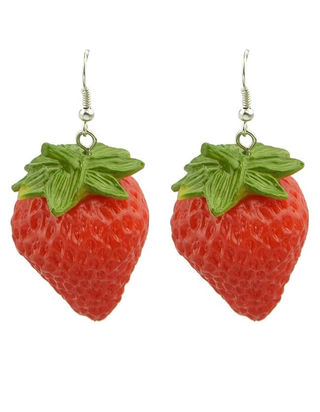 Red strawberry earrings seen on Finding Femm