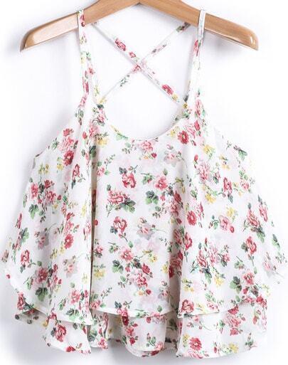 Apricot Spaghetti Strap Floral Chiffon Vest