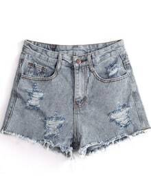 Grey Ripped Fringe Denim Shorts