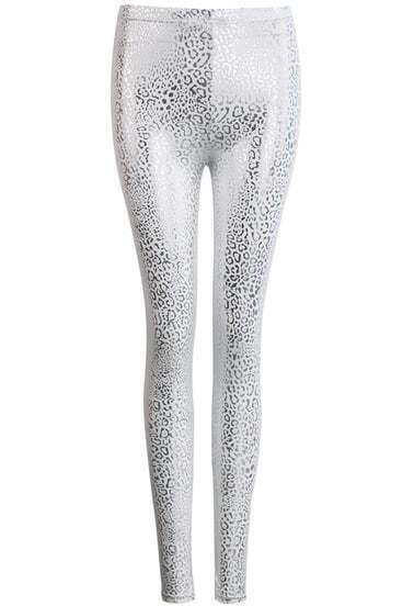 Silver Elastic Slim Leopard Leggings