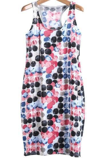 Multicolor Polka Dot Sides Pockets Tank Dress