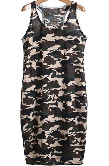 Army Green Camouflage Sides Pockets Tank Dress