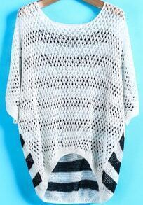White Batwing Sleeve Hollow Striped Top