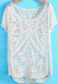 Apricot Short Sleeve Hollow Lace Blouse