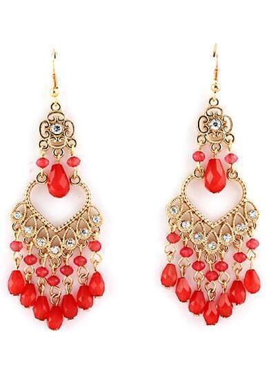 Red Gemstone Tassel Gold Dangle Earrings