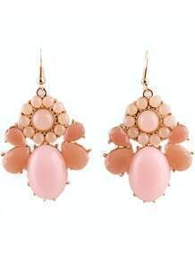 Pink Gemstone Gold Drop Dangle Earrings