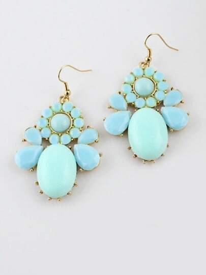 Blue Gemstone Gold Drop Dangle Earrings