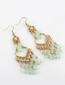 Green Gemstone Tassel Gold Dangle Earrings