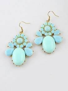 Blue Gemstone Gold Drop Dangle Earrings