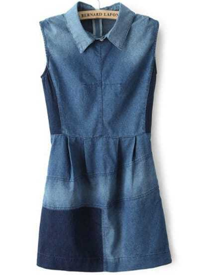 Blue Lapel Sleeveless Bleached Loose Denim Dress