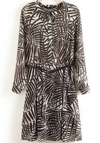 Brown Long Sleeve Leaves Print Dressn