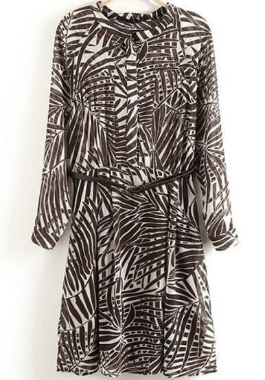 Brown Long Sleeve Leaves Print Dressn