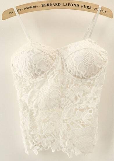 White Spaghetti Strap Floral Crochet Lace Vest