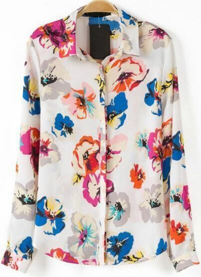 White Lapel Long Sleeve Floral Blouse