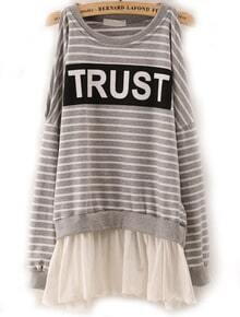 Grey Off the Shoulder Striped Top With Ruffle Skirt