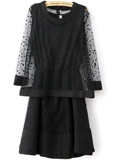 Black Long Sleeve Polka Dot Gauze Top With Dress