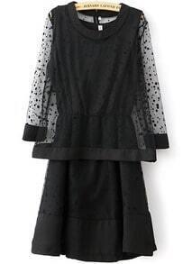 Black Long Sleeve Polka Dot Gauze Top With Dress