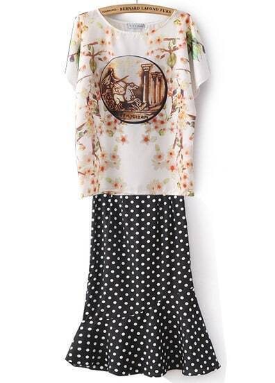 White Batwing Short Sleeve Floral Top With Polka Dot Skirt
