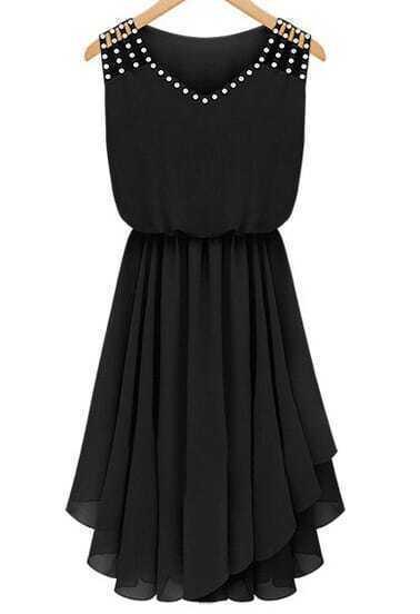 Black Sleeveless Rhinestone Hollow Pleated Chiffon Dress