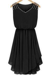 Black Sleeveless Rhinestone Hollow Pleated Chiffon Dress