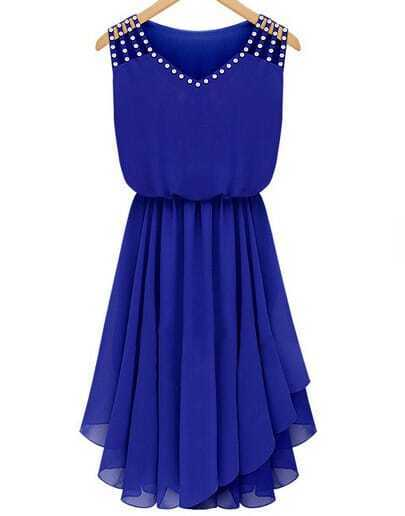 Blue Sleeveless Rhinestone Hollow Pleated Chiffon Dress