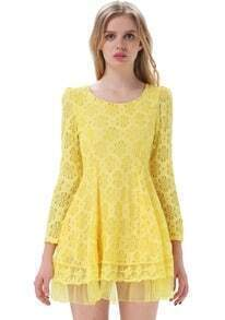 Yellow Long Sleeve Flower Lace Pleated Dress